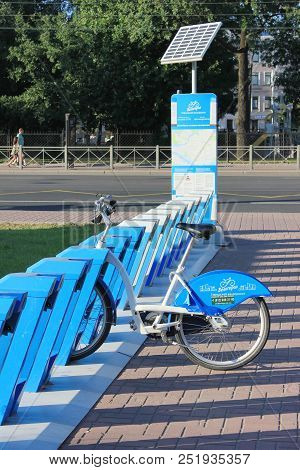 St. Petersburg, Russia - August 2, 2018: Velogorod Bike Rent Stop, Official Bike Sharing City Statio