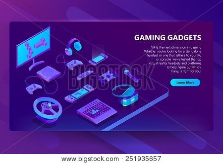Gaming Gadgets Vector Isometric Concept Background. Modern Devices For Video Games, Headset And Glas