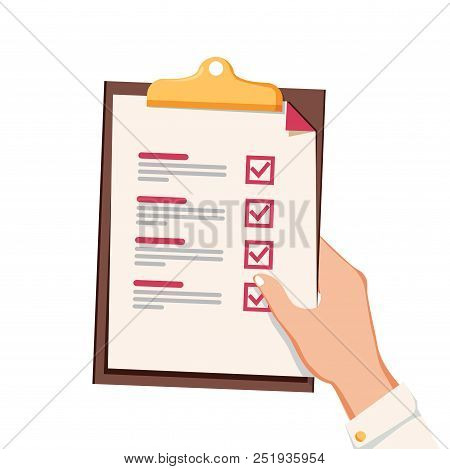 Hand With Checklist. Hand Holding And Completing Checklist On Clipboard. Business Concept. Clipboard
