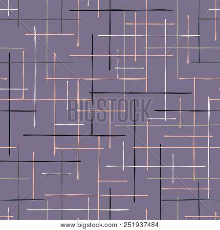 Criss Cross Lavender Maze Vector Pattern Hand Drawn Background, Geometric Purple Abstract Lines Illu