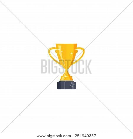 Best Trophy Champion Vector Cup Flat Icon. Champion Cup Winner Trophy Award And Victory