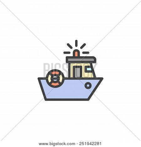 Coast Guard Filled Outline Icon, Line Vector Sign, Linear Colorful Pictogram Isolated On White. Coas