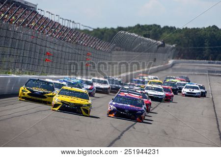 July 29, 2018 - Long Pond, Pennsylvania, USA: The Monster Energy NASCAR Cup Series teams take to the track for the Gander Outdoors 400 at Pocono Raceway in Long Pond, Pennsylvania.