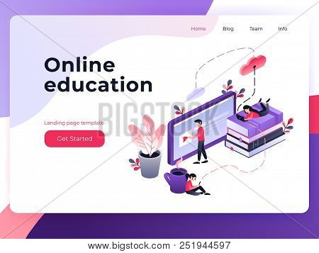 Online Training, Workshops And Courses Visualization Flat 3d Web Isometric Concept Vector Landing Pa