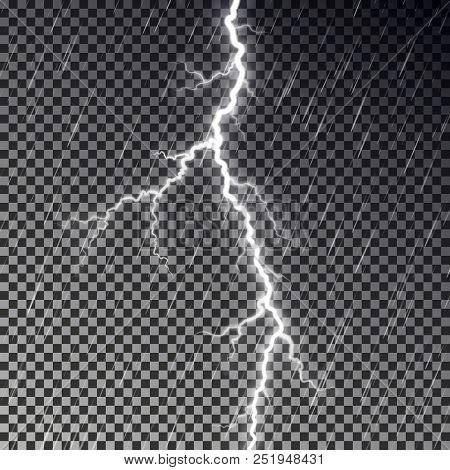 Dark Raining Sky And Lightning Bolt Isolated On Checkered Background. Transparent Rain Effect. Reali