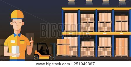 Warehouse Manager Or Worker In Warehouse Interior With Goods, Pallet Trucks And Container Package Bo