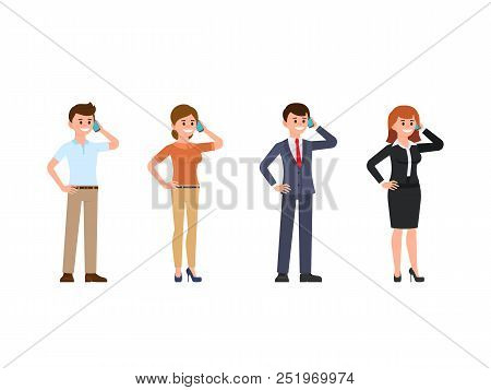 Office Clerk Talking On Phone Cartoon Character Set. Happy Young People Using Mobile