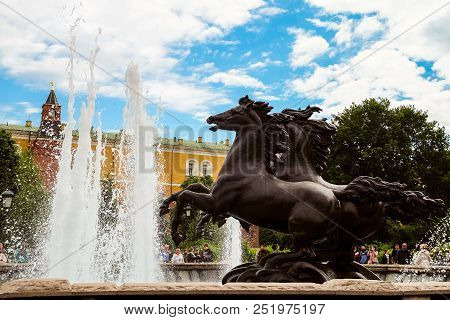 Moscow, Russia - June 11, 2018: Fountain