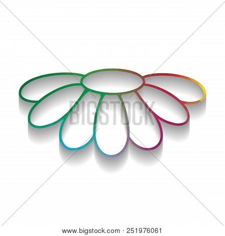 Fower Chamomile Sign Illustration. Vector. Colorful Icon With Br