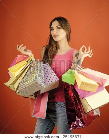 Present, Gift, Holidays Celebration. Woman Shopper With Shopping Bags, Purchase. Fashion, Beauty, St