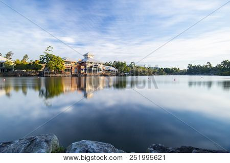 Springfield Lakes, Ipswich City, Australia - Wednesday 1St August, 2018: View Of The Lake And Local