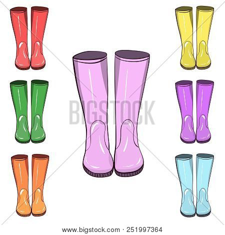 Rubber Boots, Gumboots. Hand Drawn, Vector Isolated Illustration. Protect From Water And Mucky Terra