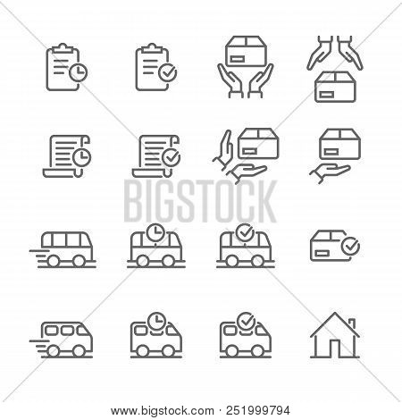 Delivery And Logistics Thin Line Icons For Online Shop Order Tracking Status. Vector Web Design Parc