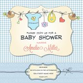 baby shower card with stroller, customizable vector template poster