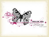 graphic design element with halftone butterfly poster