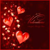 dark red valentines background or greeting card with glossy red hearts - no transparencies or mesh used poster