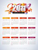 colorful calendar for 2011 - starts sunday poster
