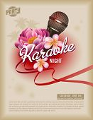 retro party flyer or poster template with microphone and exotic flowers poster