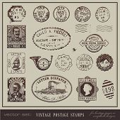 vector set: vintage postage stamps - large collection of grunge antique stamps from different countries poster