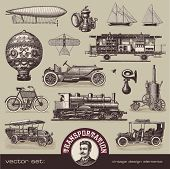 vector set: vintage means of transportation - variety of old-fashioned illustrations poster
