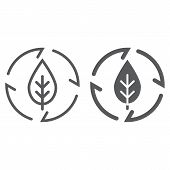 Leaf in arrows line and glyph icon, ecology and energy, green energy sign, vector graphics, a linear pattern on a white background, eps 10. poster