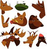 wild wood animal set of 9: fox, toad, wolf, hare, boar, bear, elk, deer and woodpecker poster
