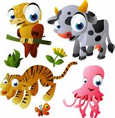 2010 animal set: xenops, cow, tiger, jelly fish poster