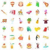 Funny carnival icons set. Cartoon style of 36 funny carnival vector icons for web isolated on white background poster