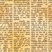 Abstract latin manuscript on ancient parchment, seamless pattern poster