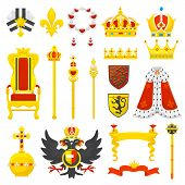 Royal crown vector royalty emblem and golden jewelry symbol of king queen and princess illustration sign of crowning prince authority and crown jeweles set isolated on white background. poster