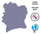 Dot Ivory Coast map. Abstract geographic map. Points have rhombus shape and dark blue color. Vector mosaic of Ivory Coast map organized with rhombus dot grid. poster