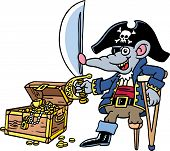 A rat is dressed up as a pirate. poster