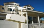 Unmanned Aircraft System (UAV) Quadcopter Drone Delivering Package At House. poster