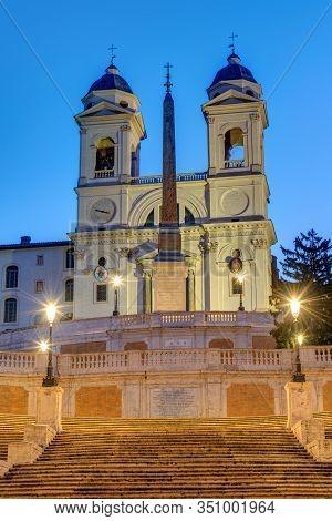 The Trinita Dei Monti Church And The Spanish Steps In Rome At Twilight