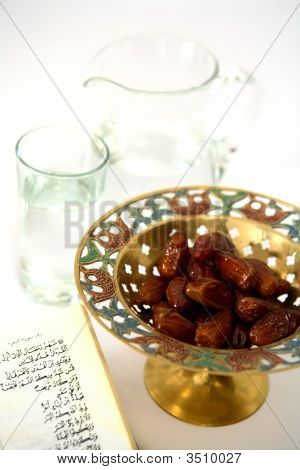 Koran Water And Dates From Above