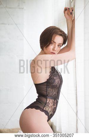 Beautiful Girl In Underwear Indoors In Natural Light
