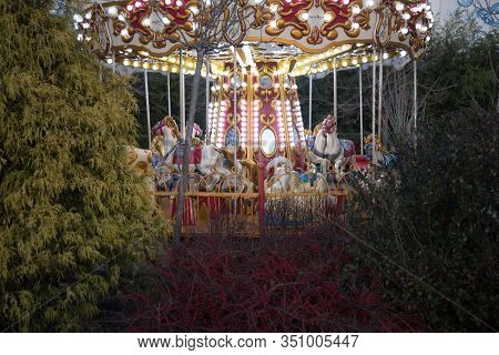 Colorful Carousel In An Amusement Park. Carousel Surrounded By A Variety Of Trees And Bushes. Childh