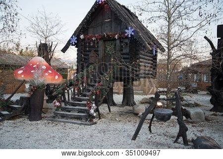 A Hut Made Of Dark Wood. The Hut Of A Character In Russian Fairy Tales. Baba Yagas House. The Hut St