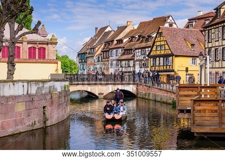 Colmar, Alsace, France - May 3, 2019: Sightseeing Of France. Amazing Colorful Traditional Half Timbe