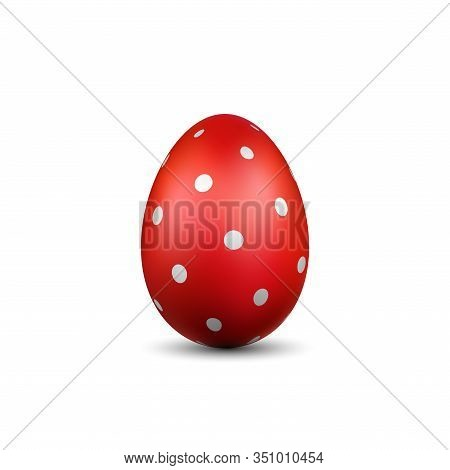 Easter Egg 3d Icon. Red Color Egg, Isolated White Background. Bright Realistic Design, Decoration Fo
