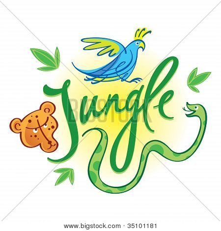 Jungle inscription nature forrest animals leopard parrot snake poster