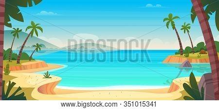 Cartoon Summer Wild Paradise Beach. Paradise Nature Vacation, Ocean Or Sea Seashore. Seaside Landsca