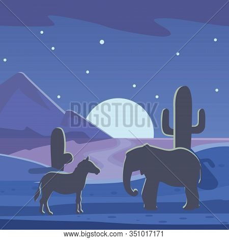 African Savanna Night Landscape With Silhouette Of Animals, Vector Poster. Elephants And Zebra With