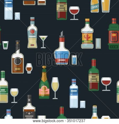 Alcohol Bottles And Glasses Seamless Vector Pattern Background. Strong Alcohol, Whisky, Vodka And Te