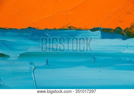 Textured Background Of Oil Paint In Orange And Blue Tones, Selective Focus