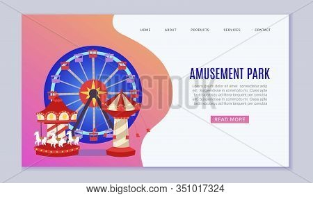 Amusement Park Web Vector Template Illustration. Flat Conceptual City Banners With Carousels. Slides