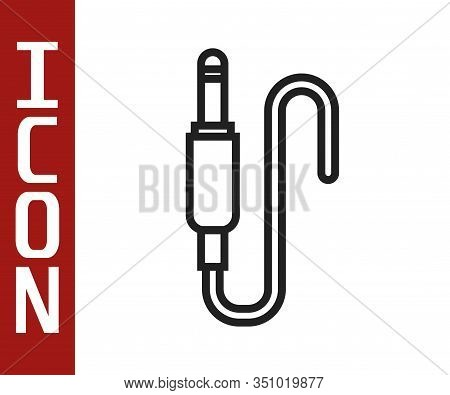 Black Line Audio Jack Icon Isolated On White Background. Audio Cable For Connection Sound Equipment.