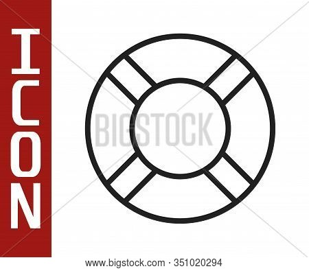 Black Line Lifebuoy Icon Isolated On White Background. Life Saving Floating Lifebuoy For Beach, Resc