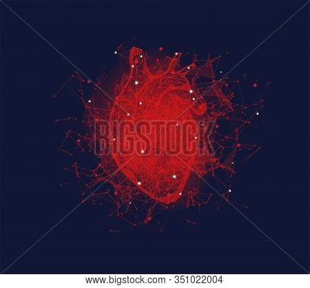 Futuristic Medical Concept With Red Human Heart. Abstract Geometric Design With Plexus Effect On Blu
