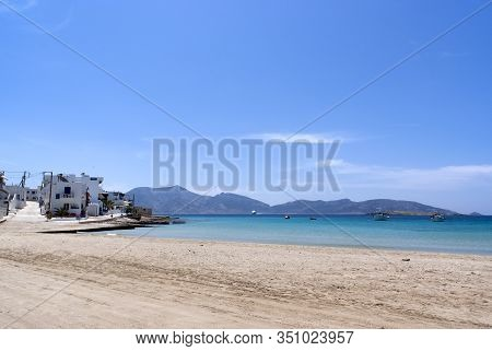 A View Of The Beautiful White Sand Beach At The Harbour On The Greek Island Of Koufonissi. A Small A